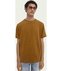 scotch & soda jersey t-shirt van een linnenmix