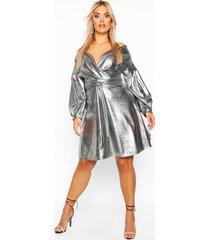 plus metallic wrap tie waist skater dress, silver