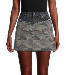 camo-print denim mini skirt
