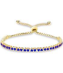 gabi rielle women's 14k gold vermeil & blue heart-cut bracelet