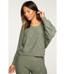 women's chaser cozy long sleeve cropped sweatshirt, size large - green