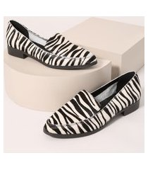 mocassim feminino estampado animal print de zebra multicor