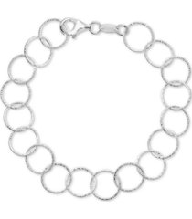 giani bernini textured round link bracelet in sterling silver, created for macy's