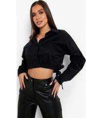 korte blouse met elastische taille en strik