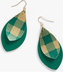 maurices womens green & gold plaid teardrop earrings