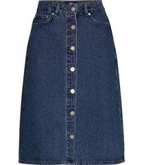 grit skirt knälång kjol blå wood wood