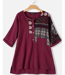 blusa taglia irregolare divisa plus stampa patchwork vintage