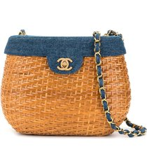 chanel pre-owned denim basket chain shoulder bag - brown