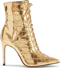 anaiya bootie - 5.5 ouro gold crocodile embossed leather