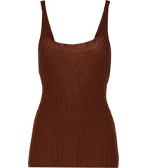khaite scoop neck ribbed vest - brown