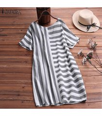 zanzea para mujer de la playa del verano rayado ocasional camisa floja de vestir de las señoras mini vestidos -negro