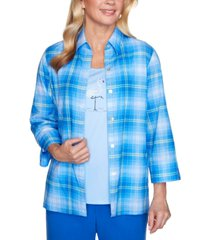 alfred dunner women's missy laguna beach plaid two for one shirt