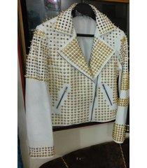 new woman white golden full studded leather jacket, women jackets