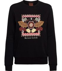 crewneck sweat with embroidered artwork sweat-shirt trui zwart scotch & soda