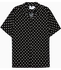 mens black polka dot revere shirt