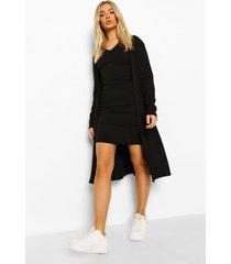 geribbelde jurk met kraag detail en duster jas, black