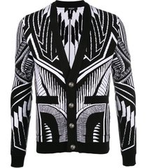 balmain bold geometric cotton cardigan - black