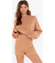 womens when in doubt knitted shorts lounge set - oatmeal