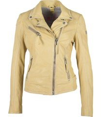 gipsy labagv leather jacket pale yellow
