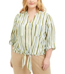 adrienne vittadini plus size striped tie-front blouse