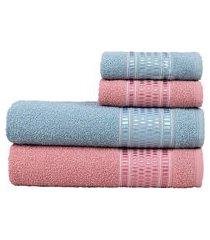 jogo de toalhas para banho e rosto nara 4 peças trevalla rosa/azul