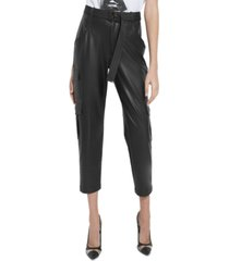 guess frankie faux-leather cargo pants