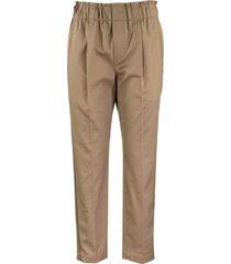 brunello cucinelli fluid cigarette trousers in comfort cotton twill