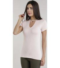 blusa choker rosa claro