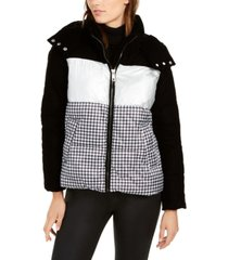 calvin klein mixed-print hooded puffer coat