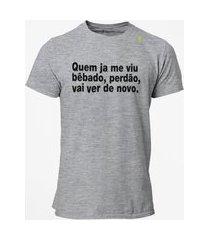 camiseta t-shirt jon cotre frase bêbado - cinza