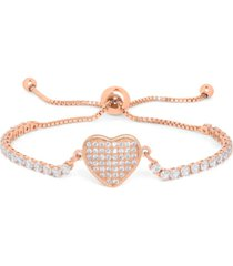 cubic zirconia heart adjustable bolo bracelet in fine rose gold plate