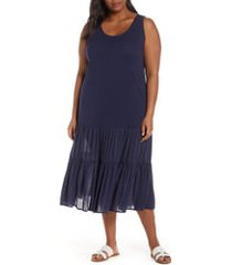 plus size women's caslon mix media drop waist midi dress, size 3x - blue