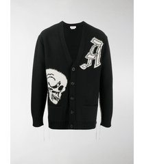 alexander mcqueen skull intarsia wool cardigan