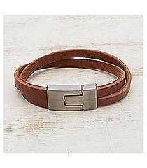 men's faux leather wristband bracelet, 'in the mix in tan' (brazil)