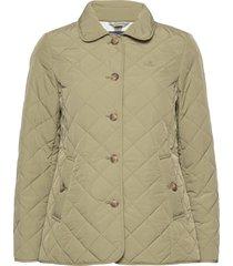 d1. quilted mid length jacket doorgestikte jas groen gant