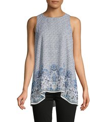 geometric & floral-print high-low top