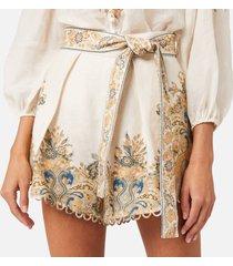 zimmermann women's freja paisley shorts - ivory fleur paisley - 1/uk 10