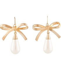 carolina herrera bow-detail drop earrings - gold