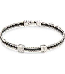 18k white gold, stainless steel & diamond bangle bracelet