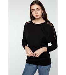 camicie di pizzo patchwork eleganti maniche a pipistrello per le donne
