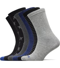 6pp logo stripe mix crew gift box underwear socks regular socks svart timberland