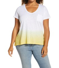 plus size women's caslon rounded v-neck tee, size 2x - yellow