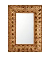 amaro feminino espelho com moldura em treliça, marrom