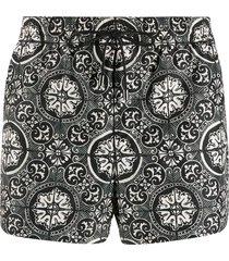 dolce & gabbana tile print swim shorts - black