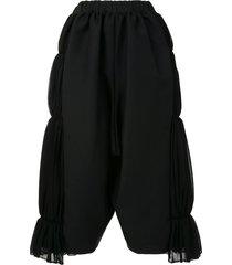 comme des garçons tiered wide-leg trousers - black