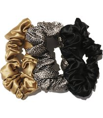 slip pure silk 3-pack hair ties in gold/leopard/black at nordstrom