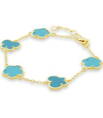 jan-kou women's flower & butterfly 14k goldplated & turquoise bracelet