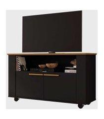 rack fenice para tvs até 42 pol. com rodízios cinamomo/preto fosco móveis bechara
