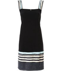 chanel pre-owned textured panels slim-fit dress - black