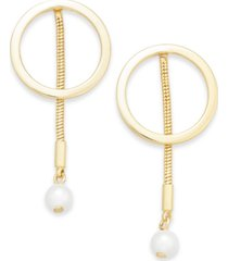 alfani gold-tone hoop & imitation pearl linear drop earrings, created for macy's